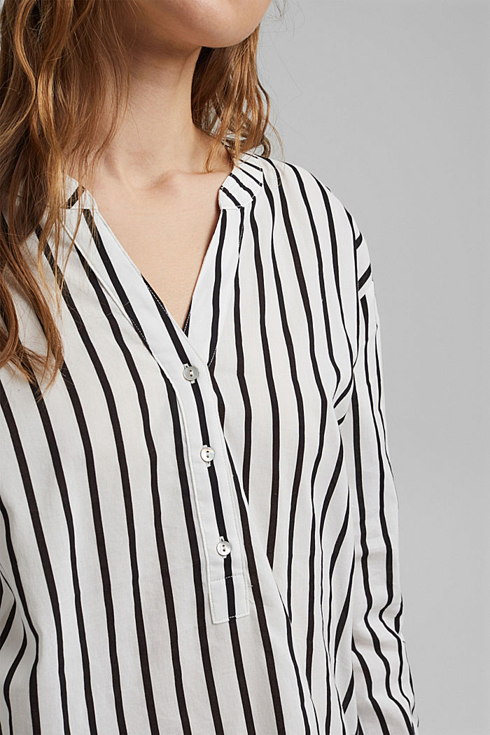 Striped Henley blouse, OFF WHITE, detail image number 2