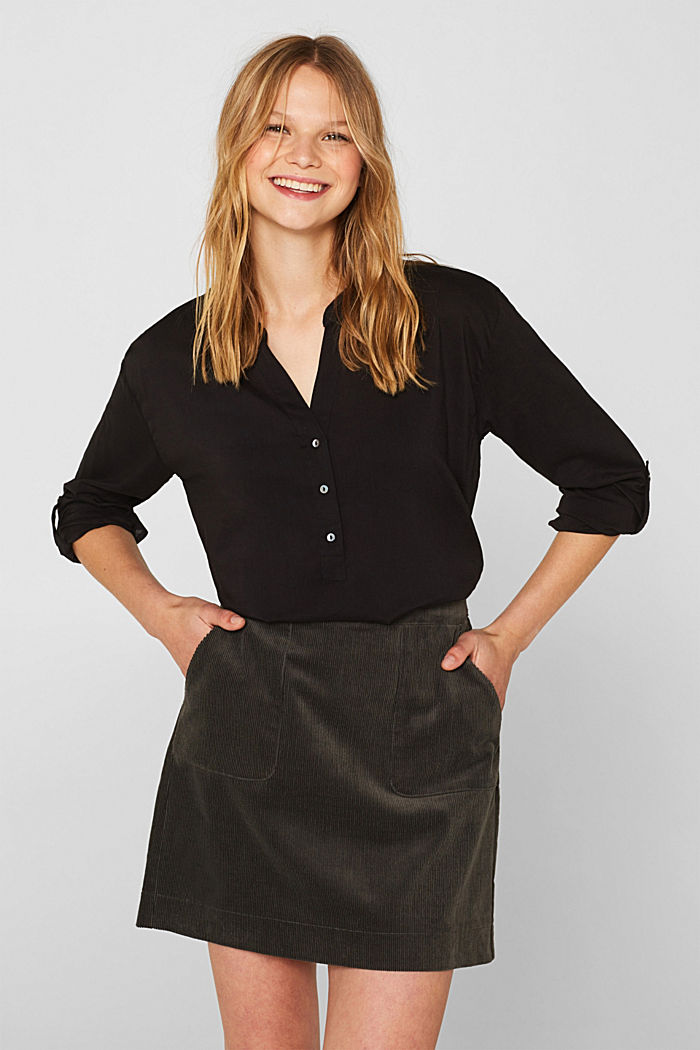 Blouse with turn-up sleeves, BLACK, detail image number 0