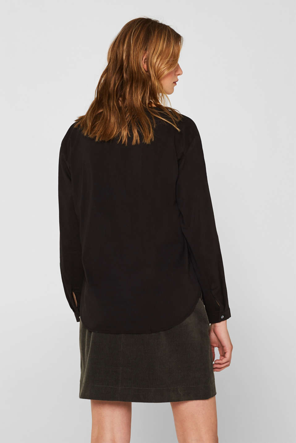 Blouse with turn-up sleeves, BLACK, detail image number 3