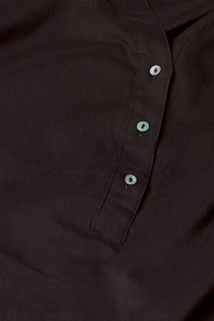 Blouse with turn-up sleeves, BLACK, detail image number 4