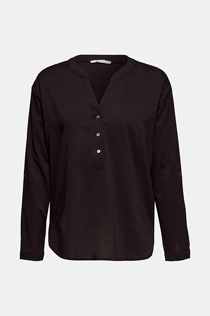 Blouse with turn-up sleeves, BLACK, detail image number 5