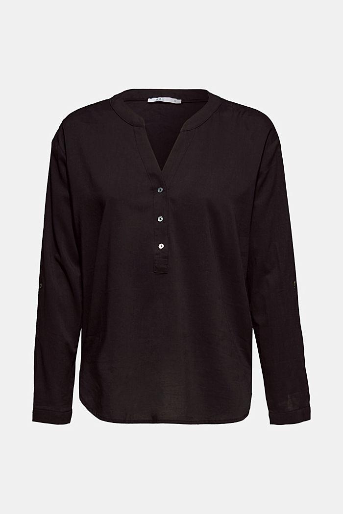Bluse mit Turn-up-Ärmeln, BLACK, detail image number 0
