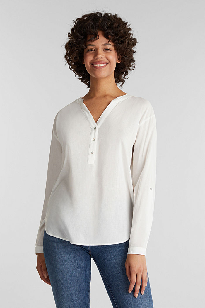 Blouse with turn-up sleeves, OFF WHITE, detail image number 0