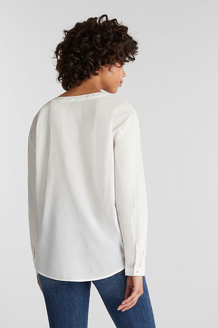 Blouse with turn-up sleeves, OFF WHITE, detail image number 3