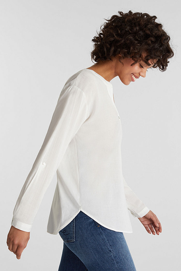 Blouse with turn-up sleeves