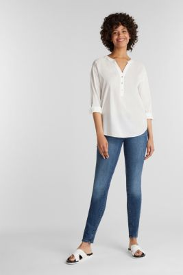 Blouse with turn-up sleeves, OFF WHITE, detail
