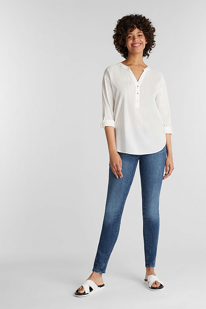 Blouse with turn-up sleeves, OFF WHITE, detail image number 1