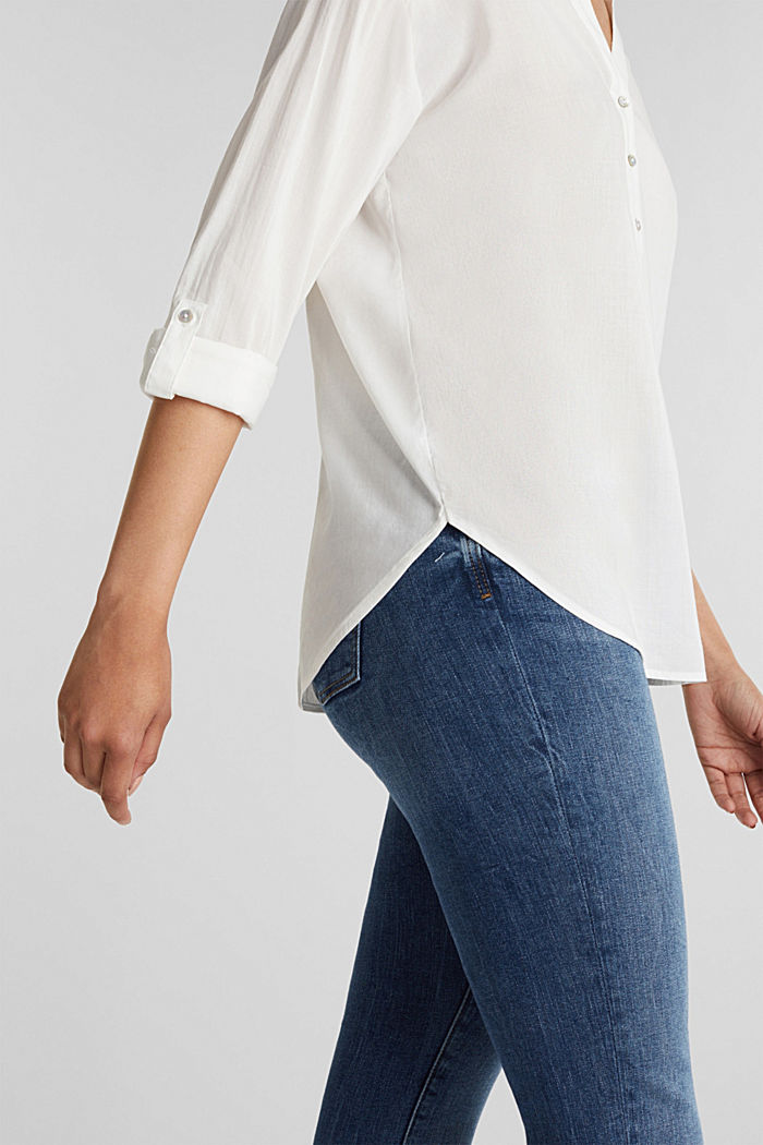 Blouse with turn-up sleeves, OFF WHITE, detail image number 2