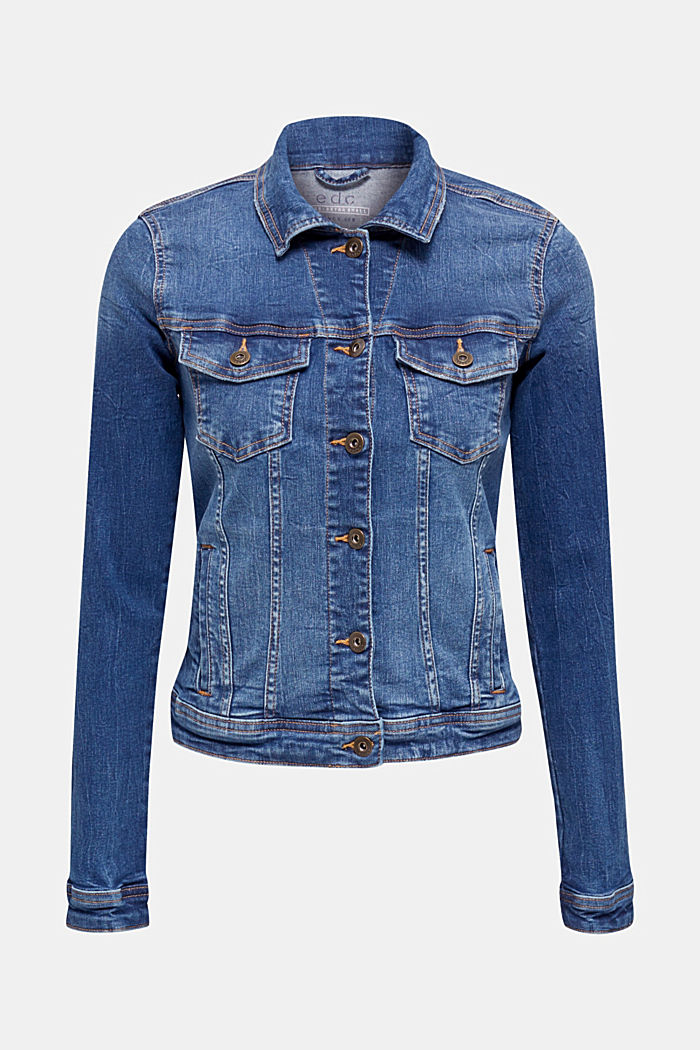 Denim jacket in a washed look, BLUE MEDIUM WASHED, detail image number 5