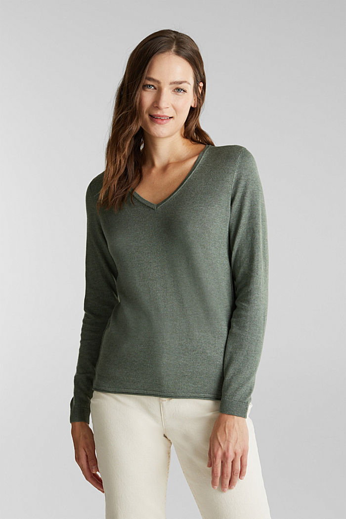 Jumper with organic cotton, KHAKI GREEN, detail image number 0