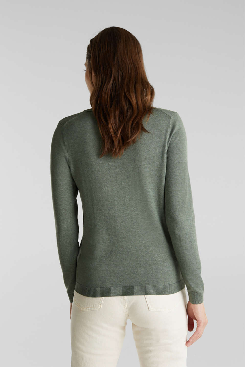 Jumper with organic cotton, KHAKI GREEN 5, detail image number 3