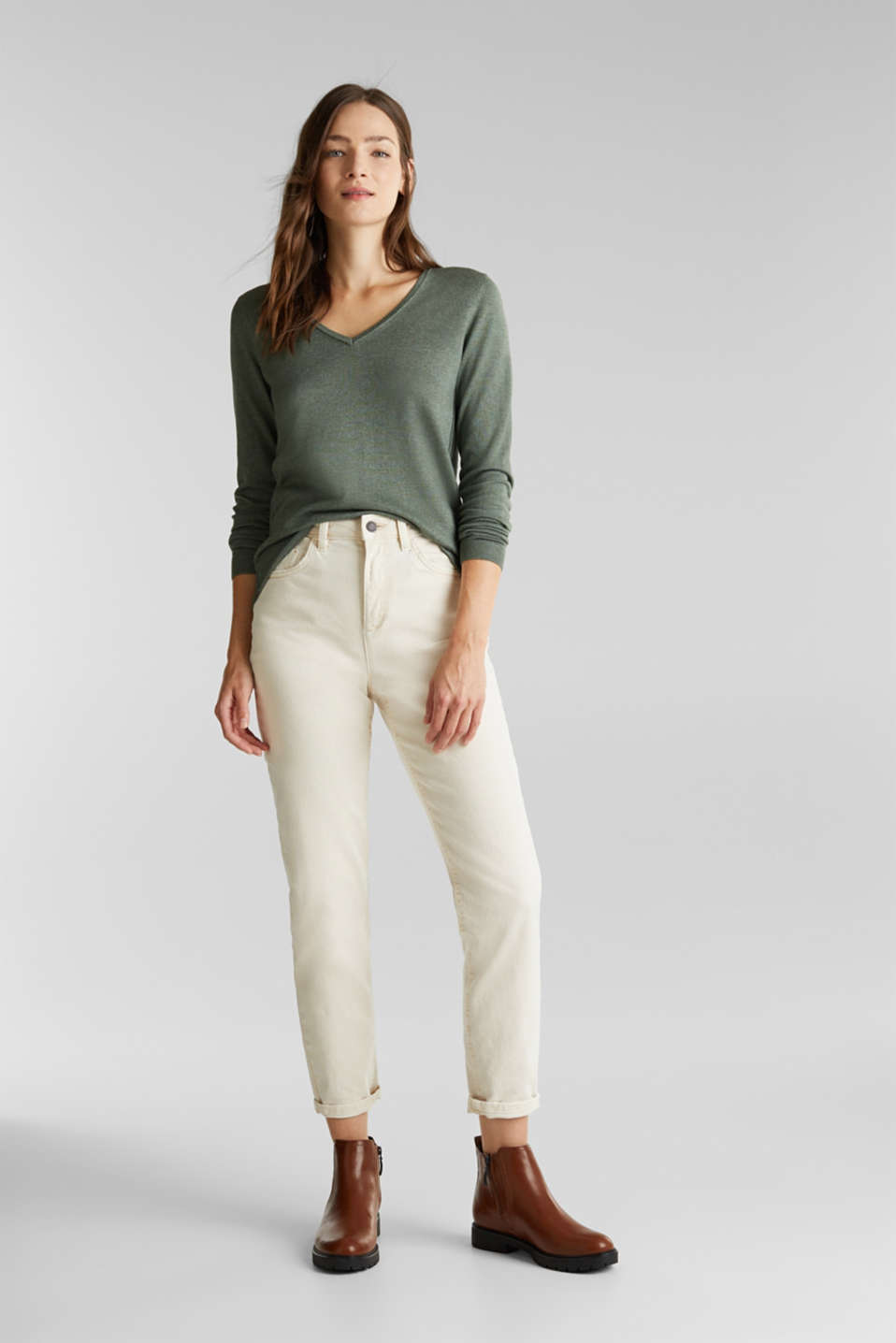 Jumper with organic cotton, KHAKI GREEN 5, detail image number 1