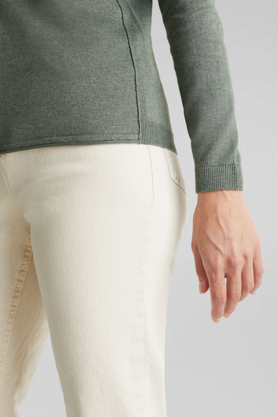 Jumper with organic cotton, KHAKI GREEN 5, detail image number 2