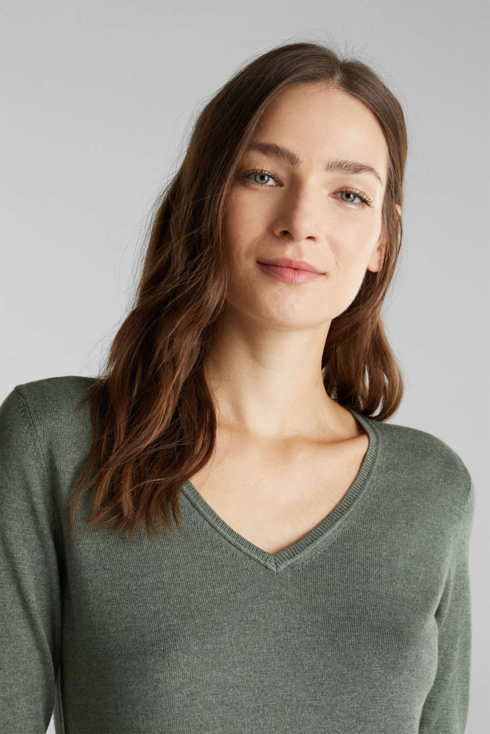 Jumper with organic cotton, KHAKI GREEN 5, detail image number 6
