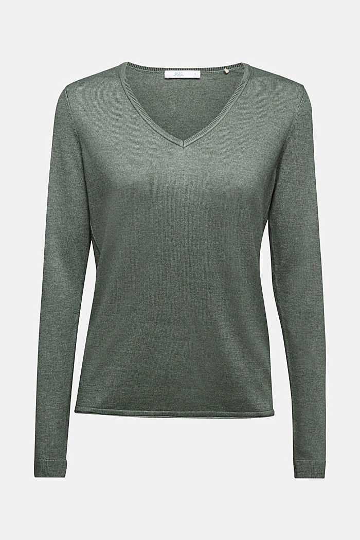 Jumper with organic cotton, KHAKI GREEN, detail image number 7