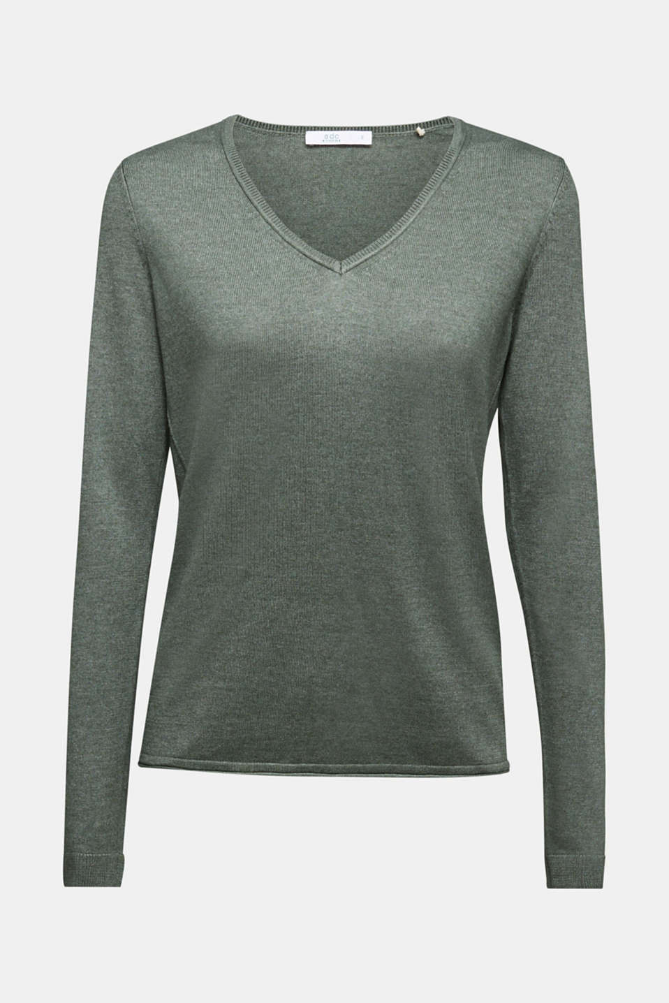 Jumper with organic cotton, KHAKI GREEN 5, detail image number 7