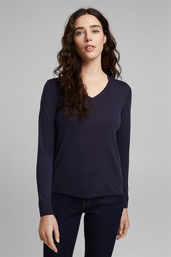 Jumper with organic cotton, NAVY, detail image number 0
