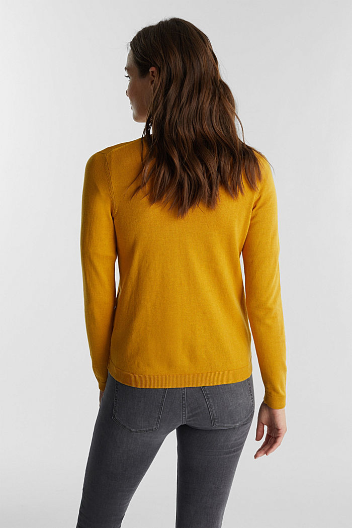 Jumper with organic cotton, BRASS YELLOW, detail image number 3