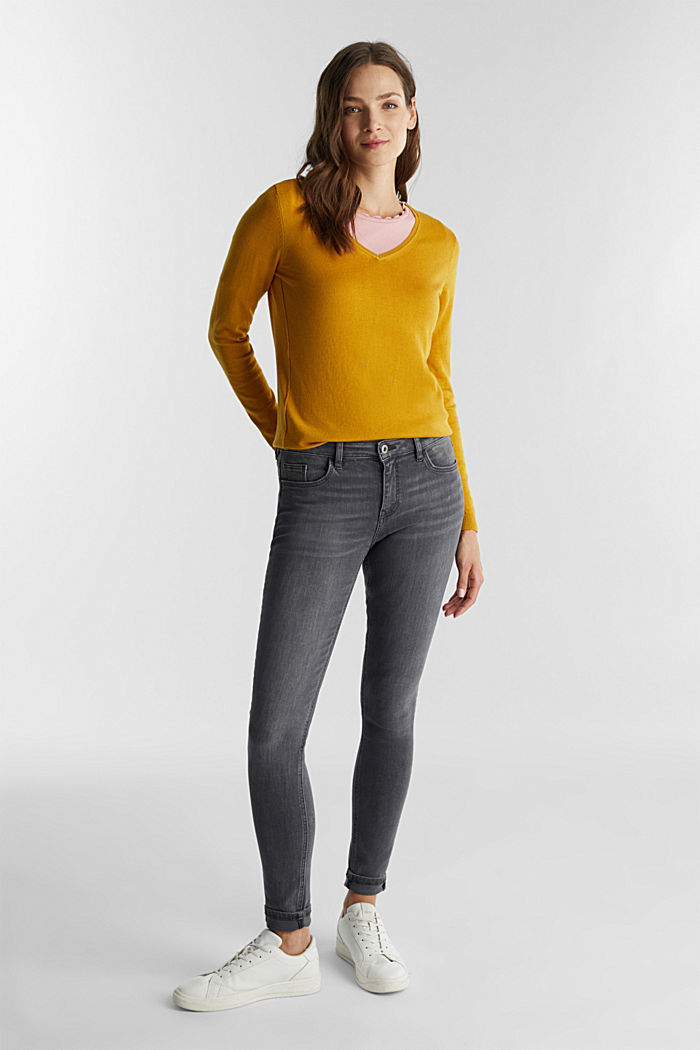 Jumper with organic cotton, BRASS YELLOW, detail image number 1