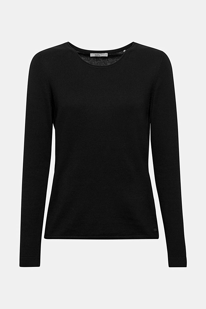 Pullover mit Organic Cotton, BLACK, detail image number 0