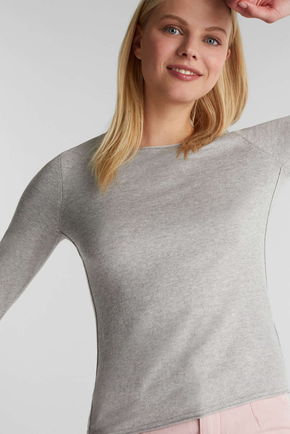 Jumper with organic cotton, LIGHT GREY 5, detail image number 0