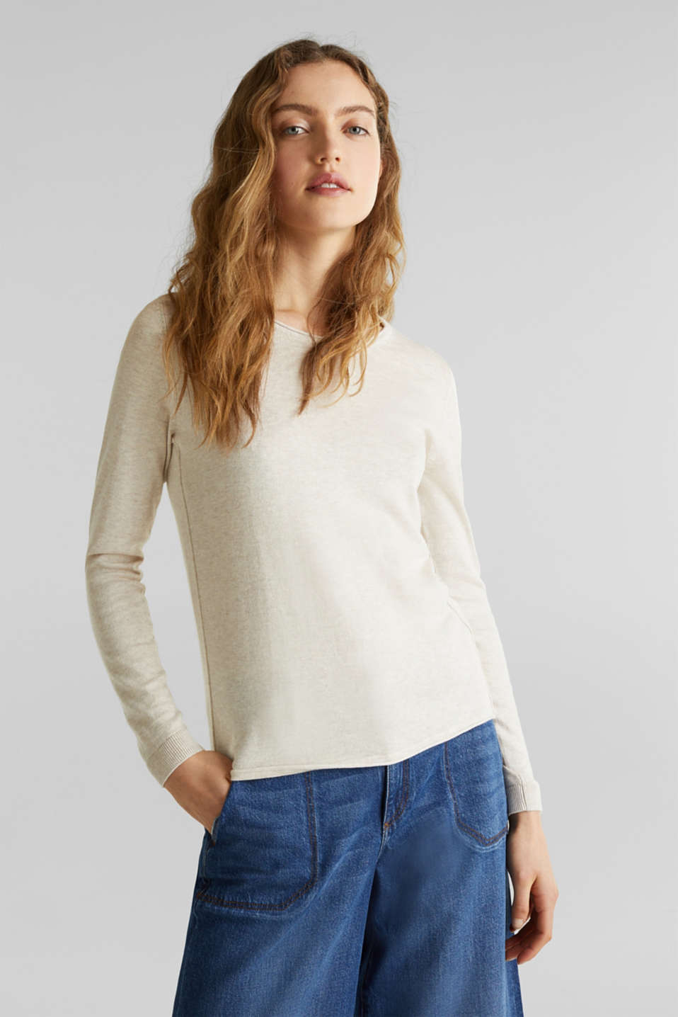 Jumper with organic cotton, SAND 5, detail image number 0