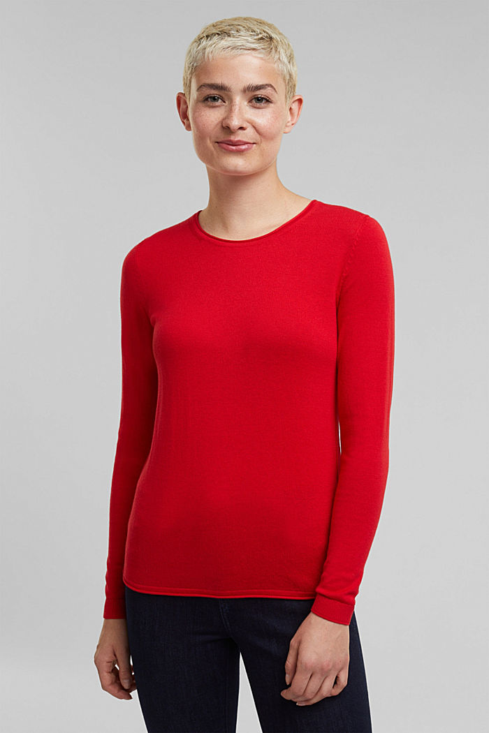 Jumper with organic cotton, RED, detail image number 0