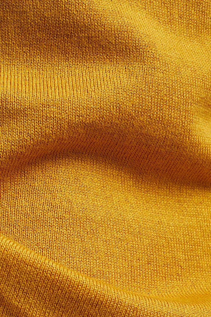 Pull-over à teneur en coton biologique, BRASS YELLOW, detail image number 4