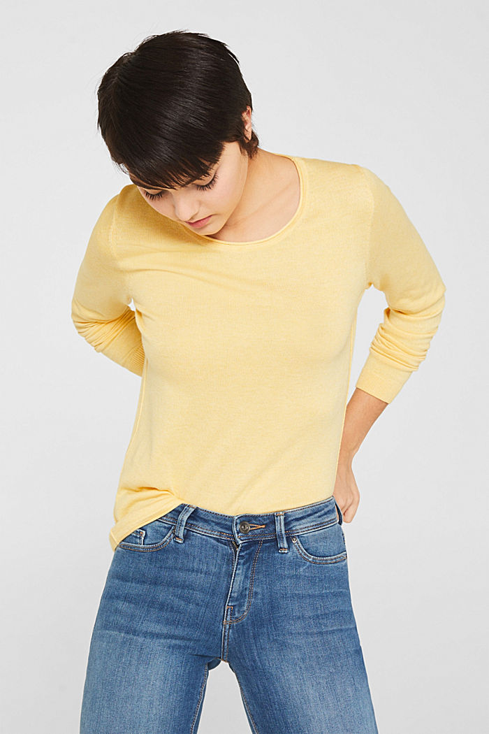 Jumper with organic cotton, YELLOW, detail image number 0