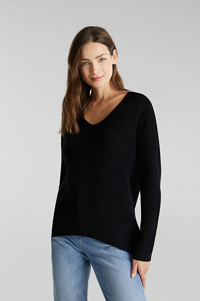 Jumper with a rice grain texture, BLACK, detail image number 0