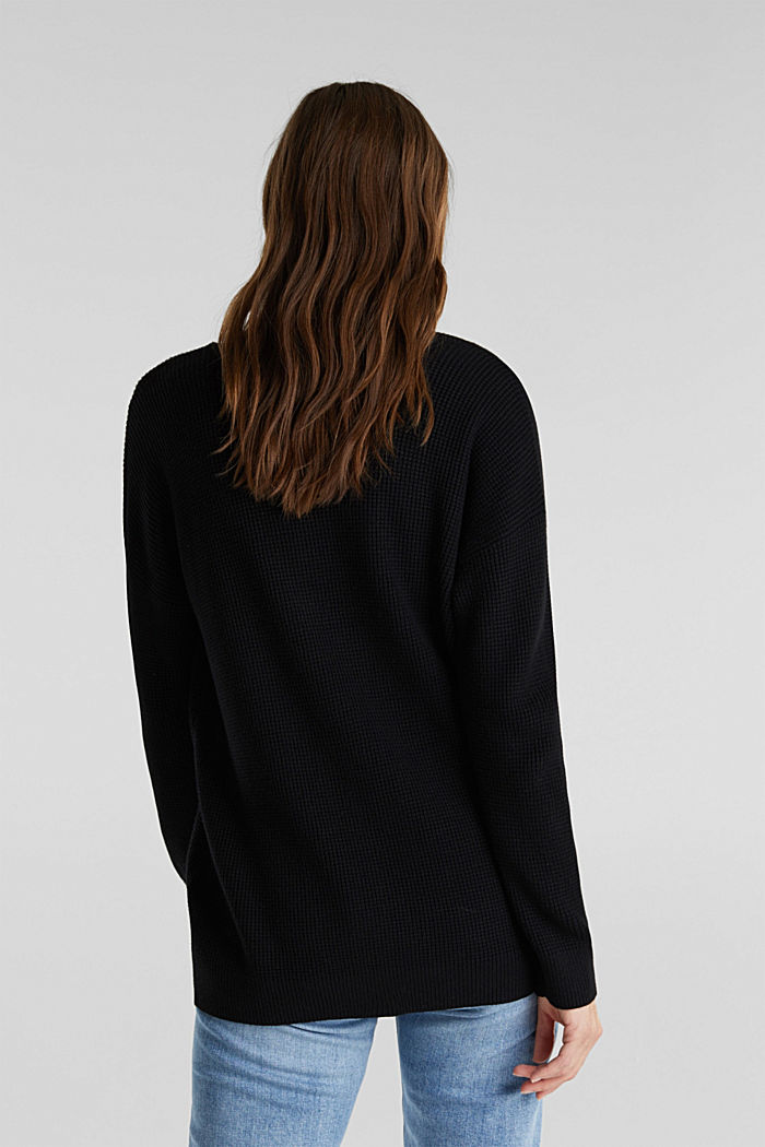 Jumper with a rice grain texture, BLACK, detail image number 3
