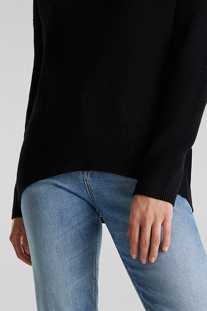 Jumper with a rice grain texture, BLACK, detail image number 2