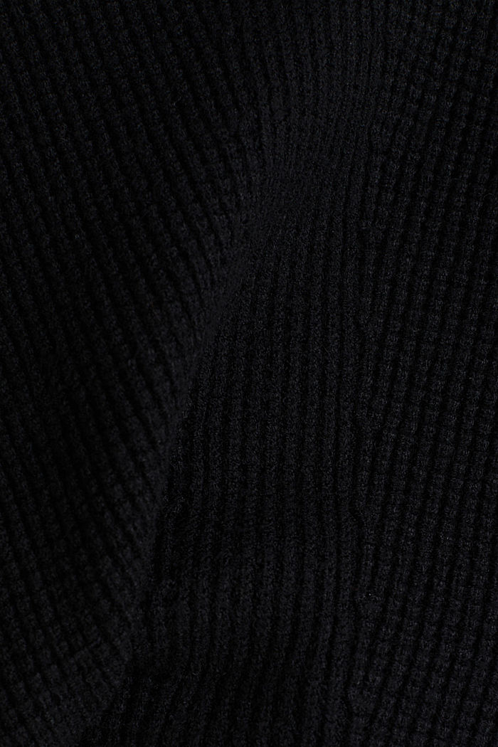 Jumper with a rice grain texture, BLACK, detail image number 4