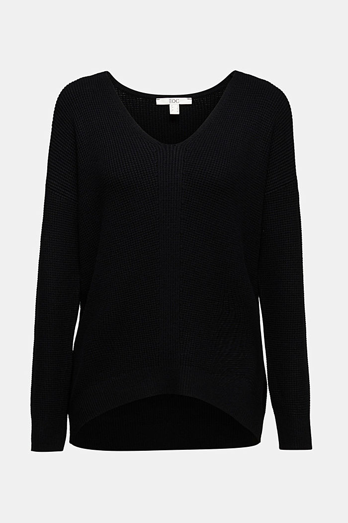 Jumper with a rice grain texture, BLACK, detail image number 6