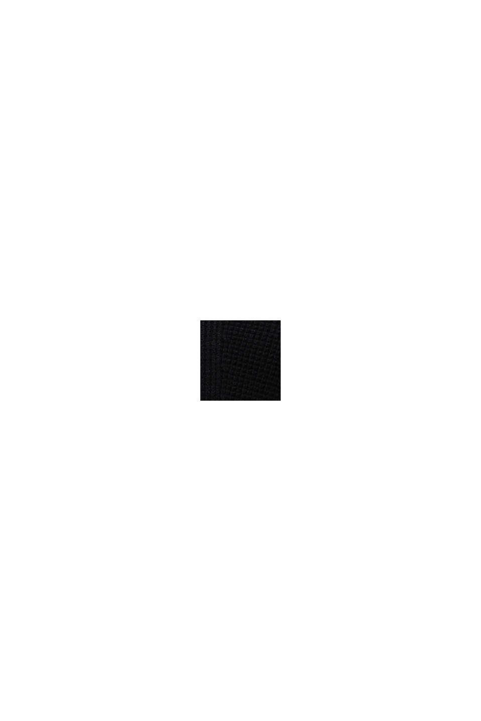 Pulovr se špičatým výstřihem, z perličkového úpletu, BLACK, swatch