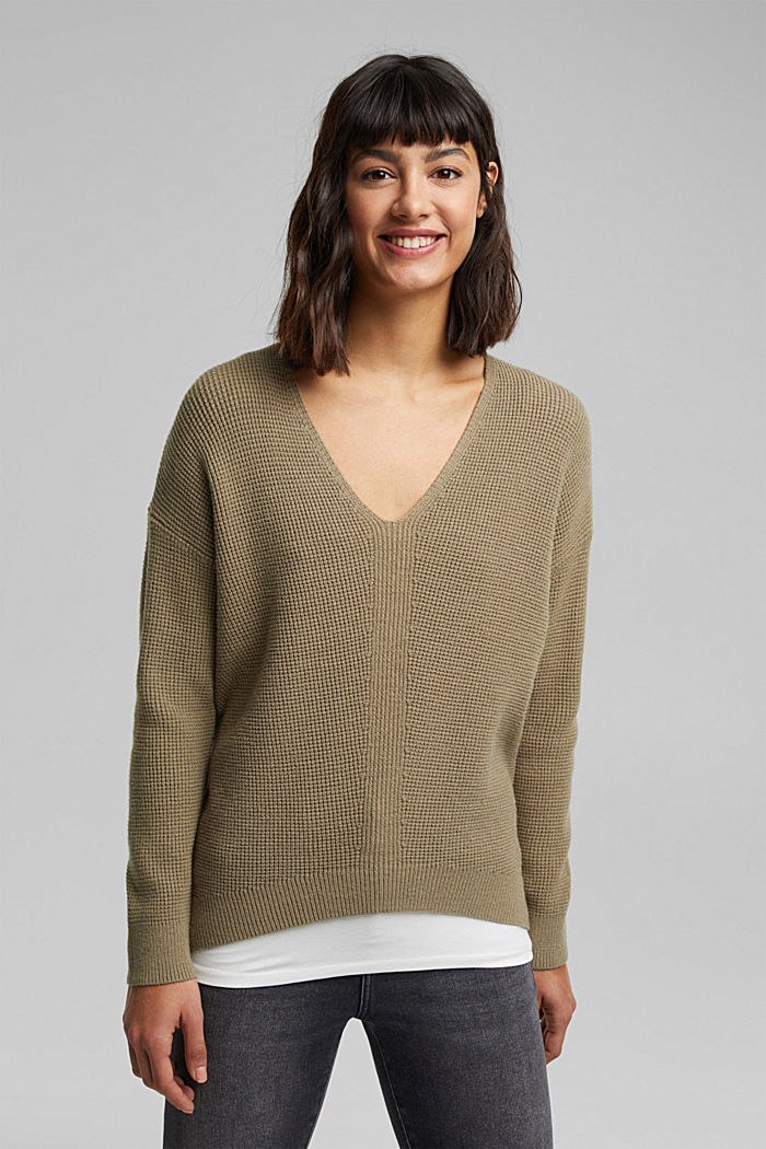Jumper with a rice grain texture, LIGHT KHAKI, detail image number 0