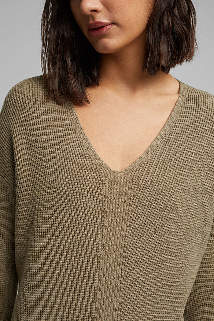 Jumper with a rice grain texture, LIGHT KHAKI, detail image number 2