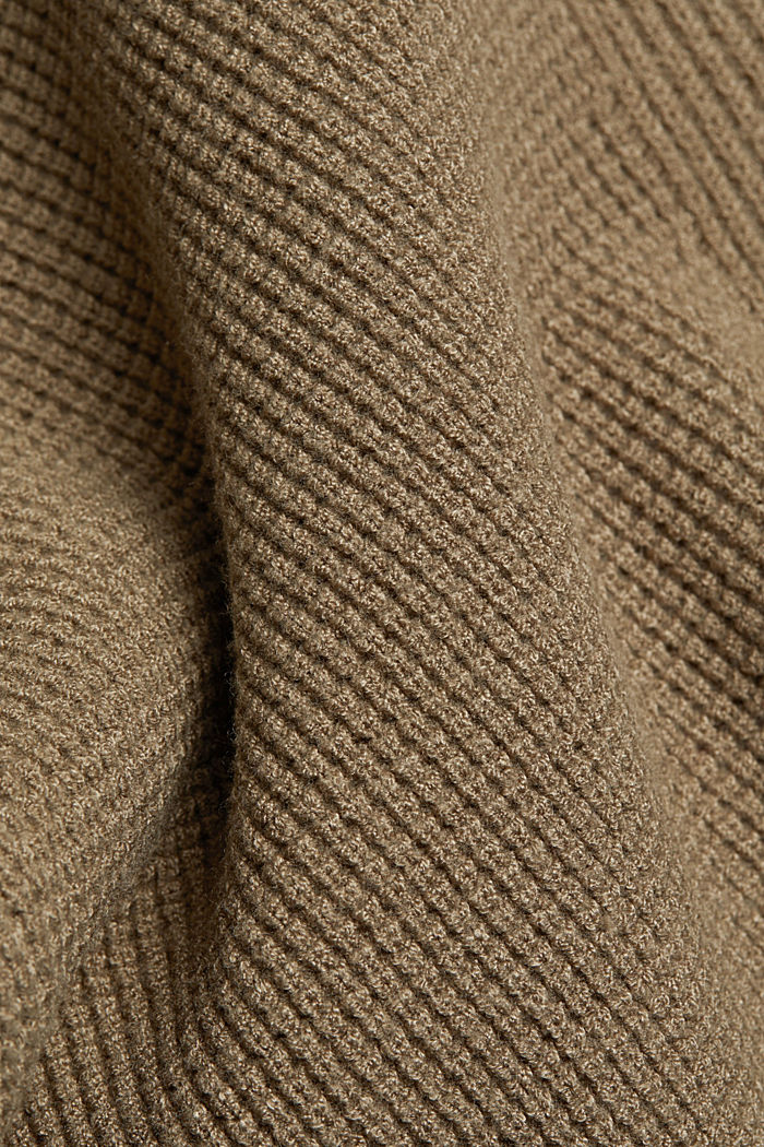 Jumper with a rice grain texture, LIGHT KHAKI, detail image number 4