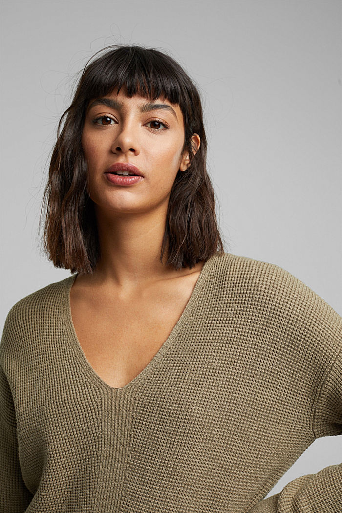 Jumper with a rice grain texture, LIGHT KHAKI, detail image number 5