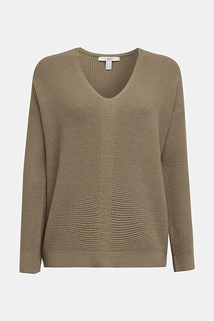 Jumper with a rice grain texture, LIGHT KHAKI, detail image number 7