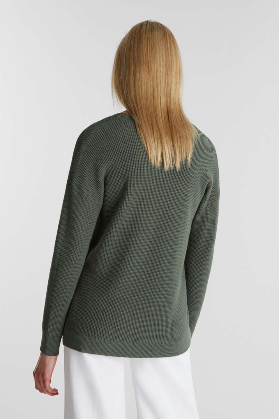 Jumper with a rice grain texture, KHAKI GREEN, detail image number 3