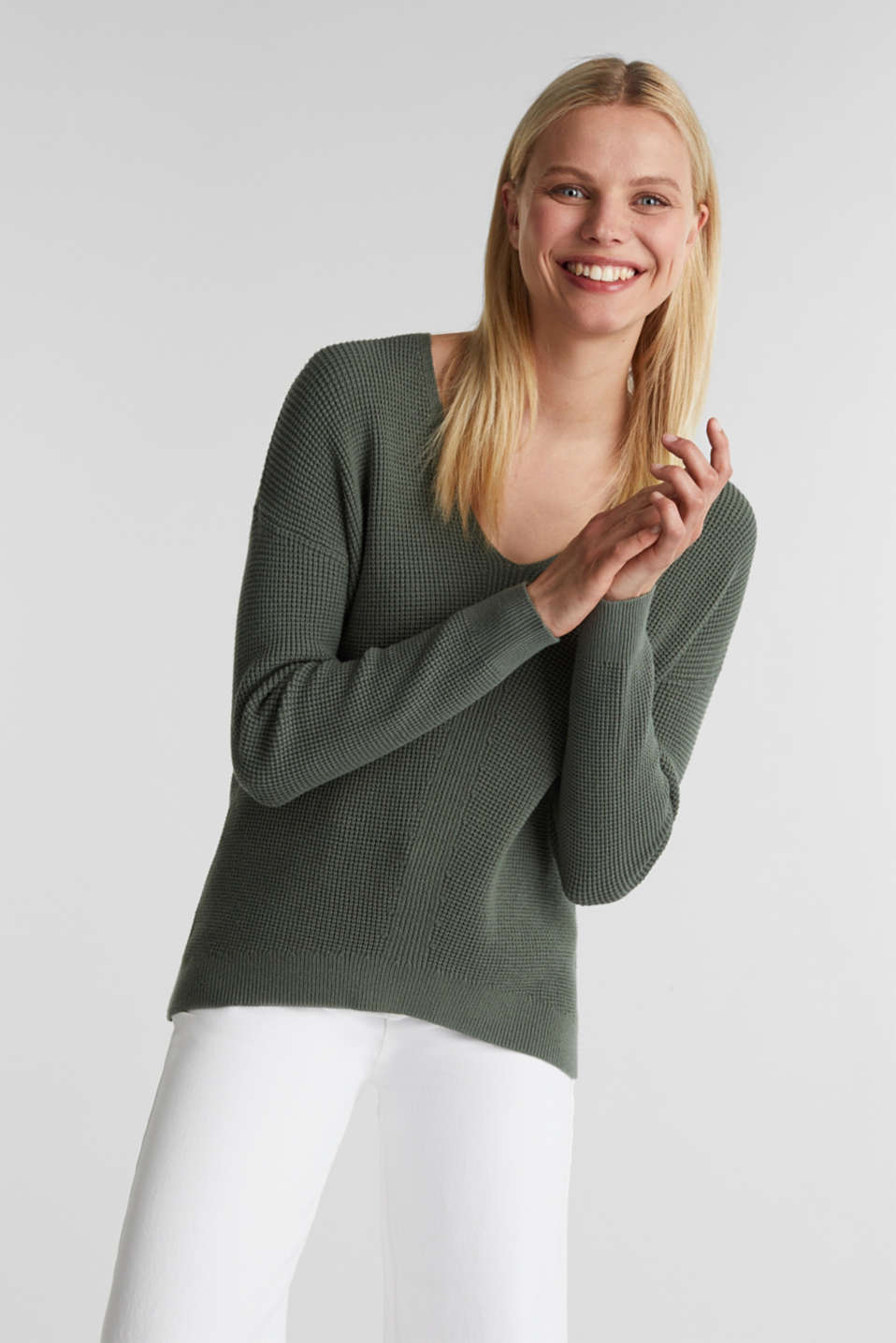 Jumper with a rice grain texture, KHAKI GREEN, detail image number 5