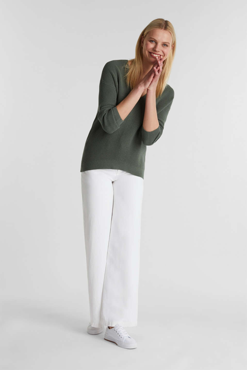 Jumper with a rice grain texture, KHAKI GREEN, detail image number 1