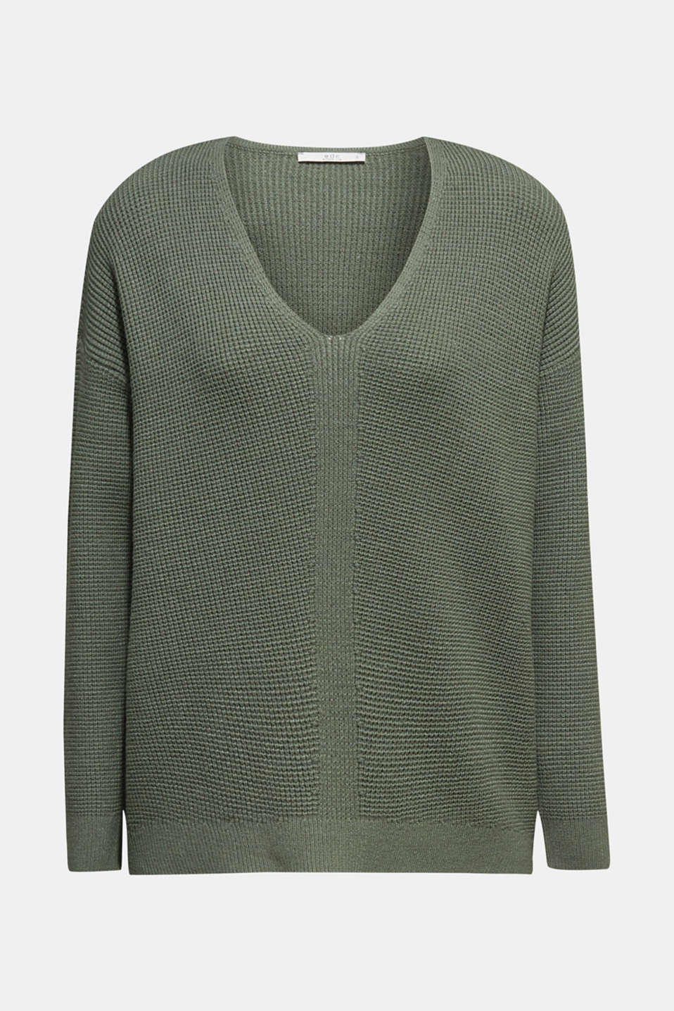 Jumper with a rice grain texture, KHAKI GREEN, detail image number 6
