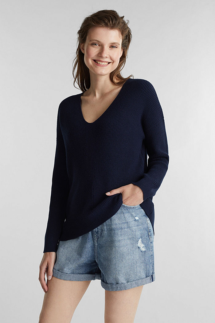 Jumper with a rice grain texture, NAVY, detail image number 0