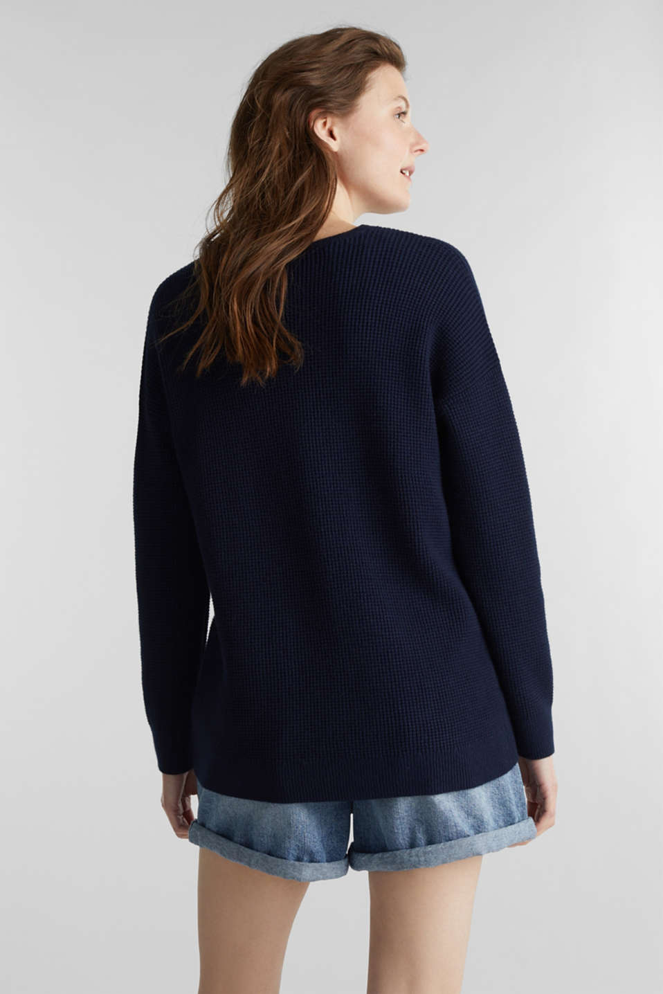 Jumper with a rice grain texture, NAVY, detail image number 2