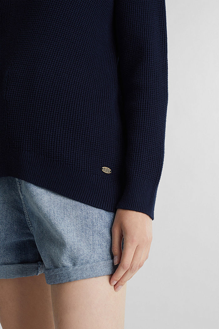 Jumper with a rice grain texture, NAVY, detail image number 4