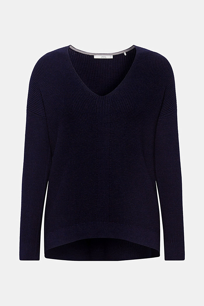 Jumper with a rice grain texture, NAVY, detail image number 6
