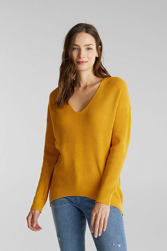 Jumper with a rice grain texture, BRASS YELLOW, detail image number 0