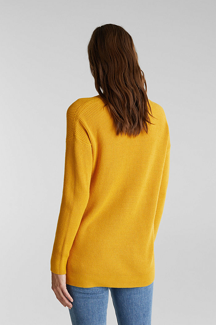 Jumper with a rice grain texture, BRASS YELLOW, detail image number 3
